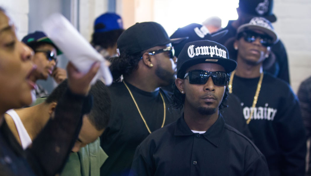 Aspiring actors entering the Rosecrans Recreational Center are given instructions while waiting to audition for the N.W.A. biopic, Straight Outta Compton, in Gardena, California on March 9, 2014. (Jose Lopez)