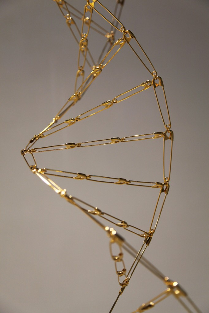 Mircea Cantor Epic Fountain, 2012 Safety pins, gold 24k 942 cm high/ 21cm large