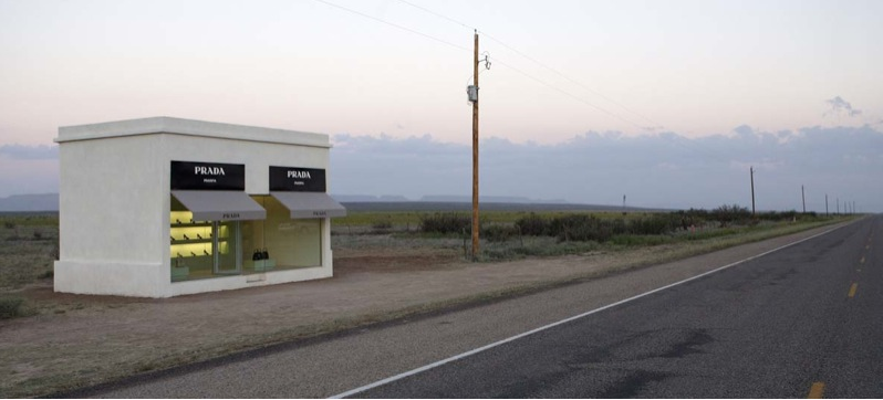 """Untitled (Prada Marfa)"" 2007 Photographic print, dibond, plexi-glass, frame / Tirage photographique, dibond, plexiglass, cadre 63 inches x 6.8 feet / 160 x 204 cm Edition of 5+2AP"