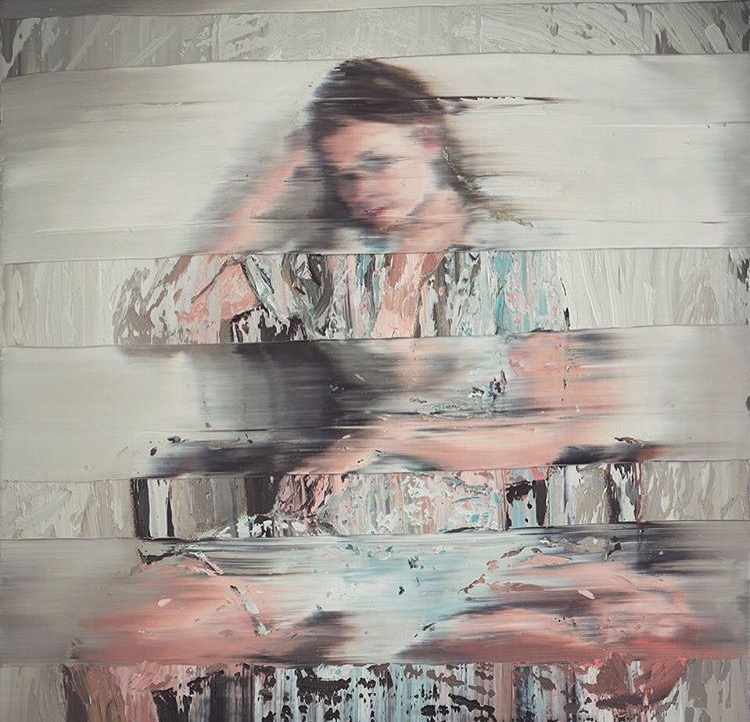 Andy Denzler - Girl with Chair, 2014 - Oil on canvas - 80X70 cm
